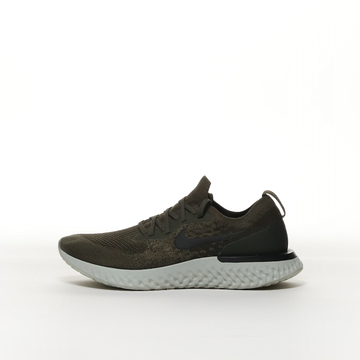 276e389cda56e Nike Epic React Flyknit - CARGO KHAKI CAMPER GREEN HEATHER LIGHT SILVE –  Resku