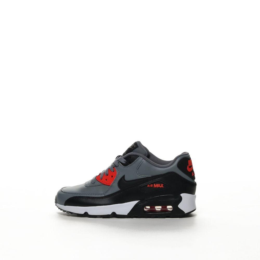 Nike Air Max 90 Boys Gs Leather Running Black Black A